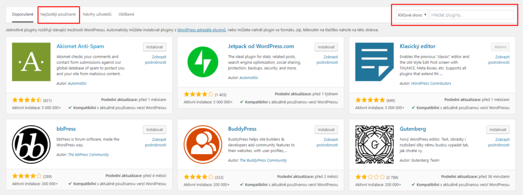 Instalace WordPress pluginů